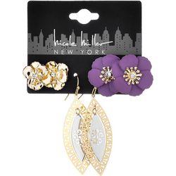 Nicole Miller New York Trio Flower Earring Set