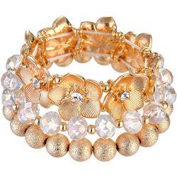 Nicole Miller New York 3 Pc Flower & Bead Bracelet