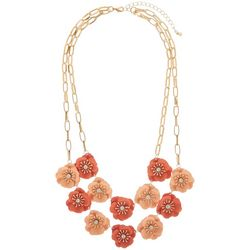 Nicole Miller NY 2 Row Flower Frontal Necklace