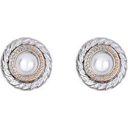 Jones New York Two Tone Rhinestone Button Earrings