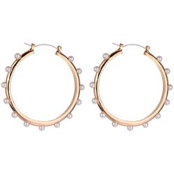 Jones New York 40MM Gold Tone & Pearl Hoop Earring