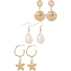 Bay Studio 3 Pr Coastal Shell Earring Set