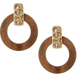 Bay Studio Wood Ring Post Top Earrings