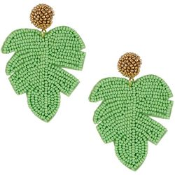 Green Seedbead Leaf Post Top Earrings