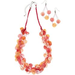 Multi Shell Disc & Earring Necklace Set