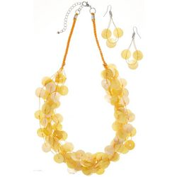 Bay Studio Yellow Shell Disc & Cord Necklace Set