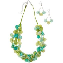 Multi Shell Disc Necklace & Earring Set