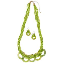 Green Seedbead & Shell Necklace Set
