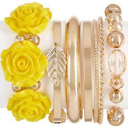 Bay Studio 7 Pc Yellow Flower & Bangle Set