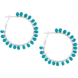 Bay Studio Turquoise Wood Bead Wrap Hoop Earrings