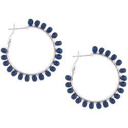 Bay Studio Navy Wood Bead Wrap Hoop Earrings