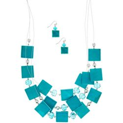 Turquoise Shell Illusion Necklace Set