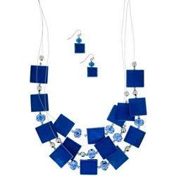 Bay Studio Blue Shell Illusion Necklace Set