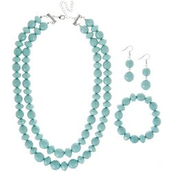 3-Pc Aqua Beaded Necklace & Earring Set