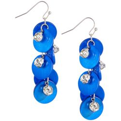 Bay Studio Blue Shell & Crystal Cluster Earrings