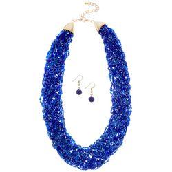 Bay Studio Blue Woven Seedbead Necklace Set