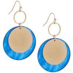 Bay Studio Blue Disc & Gold Disc Drop Earrings