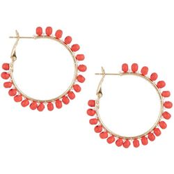 Bay Studio Dark Coral Wood Bead Wrap Hoop Earrings