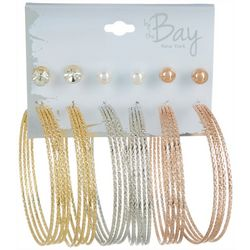 By The Bay New York 6 Pc. Textured Hoop Earring Set