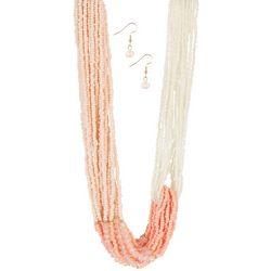 Bay Studio Multi-Row Coral Tones Necklace & Earring Set