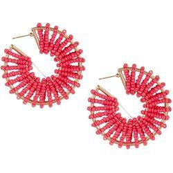 Bay Studio Pink Sead Bead Wrapped C-Hoop Earrings