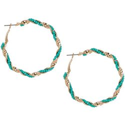Bay Studio Goldtone & Turquoise Seed Bead Hoop Earrings