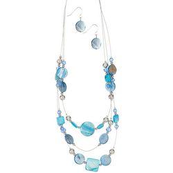 Bay Studio 3-Row Beaded Illusion Necklace & Earring Set