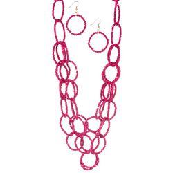 Bay Studio Seed Bead Linked Rings Necklace & Earring Set