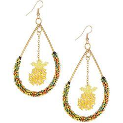Bay Studio Beaded Pineapple Teardrop Orbital Earrings