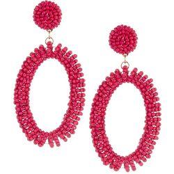 Bay Studio Pink Sead Bead Dropped Hoop Earrings