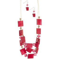 Bay Studio Square Shell Bead Illusion Necklace & Earring Set