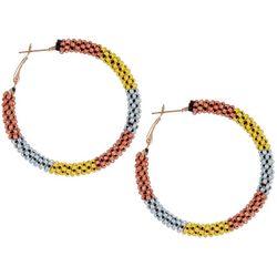 Bay Studio TRi-Tone Beaded  Hoop Earrings