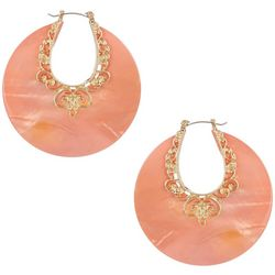 Bay Studio Pink Filagree Shell Disc Hoop Earrings