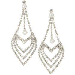 Socialize Long Rhinestone Heart Chandelier Earring