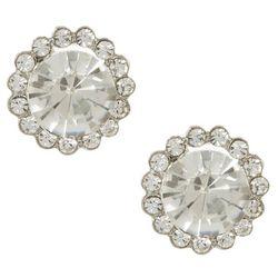 Socialize Glass Rhinestone Halo Post Earrings