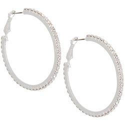 Socialize Pave Rhinestone Hoop Earrings
