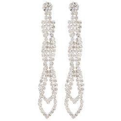 Socialize Rhinestone Double Loop Linear Earrings