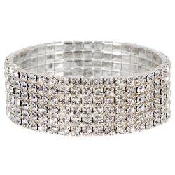 Socialize Wide Multi Row Crystal Stretch Bracelet