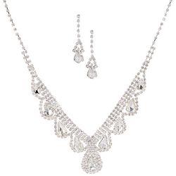 Socialize Glass Teardrop V Necklace & Earring Set