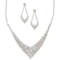 Socialize Pave Rhinestone V Necklace & Earring Set