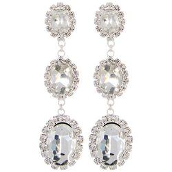 Socialize Triple Oval Glass Halo Drop Earrings