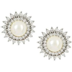 Socialize Crystal & Pearl Cabochon Post Earrings