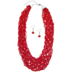 Red Woven Seedbead Necklace Set