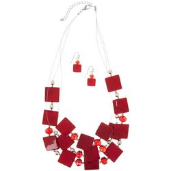 Bay Studio Red Dyed Shell Illusion Necklace Set