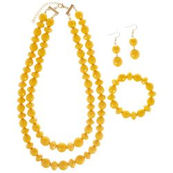 3-pc. Yellow Bead Necklace & Earring Set