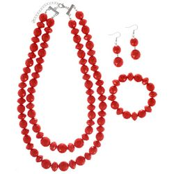 3 Pc Chunky Red Necklace & Earring Set