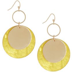 Bay Studio Yellow Resin Disc Drop Earrings