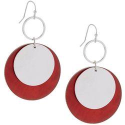 Bay Studio Red Resin Disc Drop Earrings