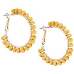 Bay Studio Gold Tone Yellow Bead Hoop Earrings