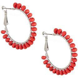 Bay Studio Red Wood Wrapped Hoop Earrings